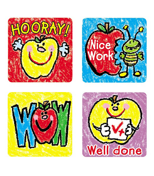Apples: Kid-Drawn Motivational Stickers