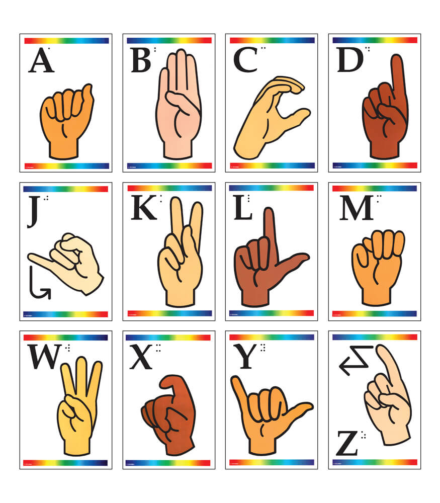 Sign Language Learning Cards with Braille Learning Cards