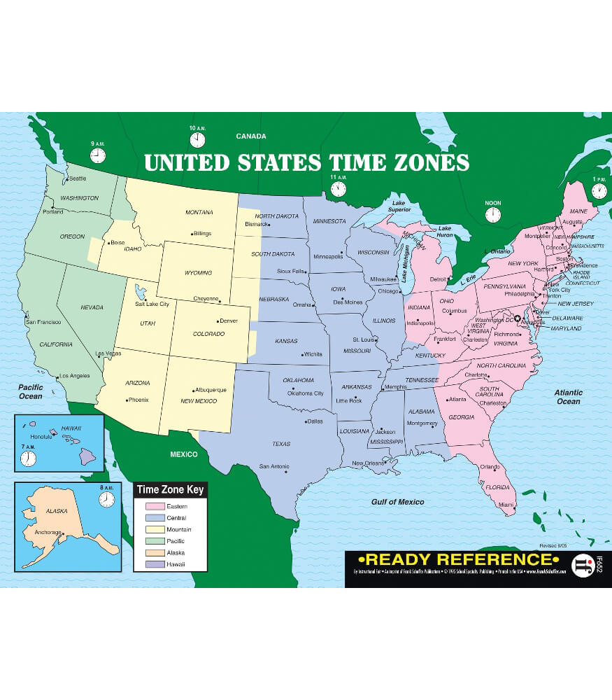 US And World Maps With Time Zones Ready Reference Learning Cards - Us map and oceans
