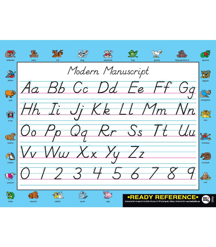 Handwriting Modern Manuscript and Cursive Ready Reference Learning Cards