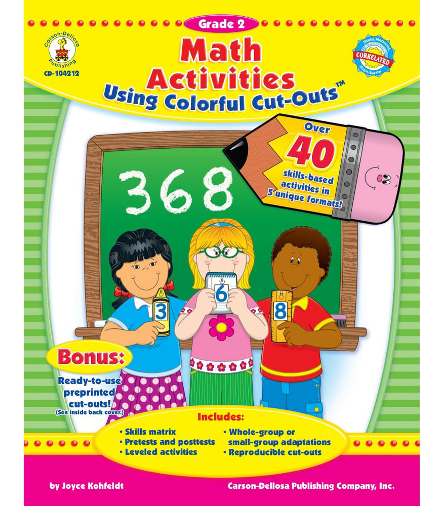 math activities using colorful cut outs resource book grade 2 carson dellosa publishing. Black Bedroom Furniture Sets. Home Design Ideas