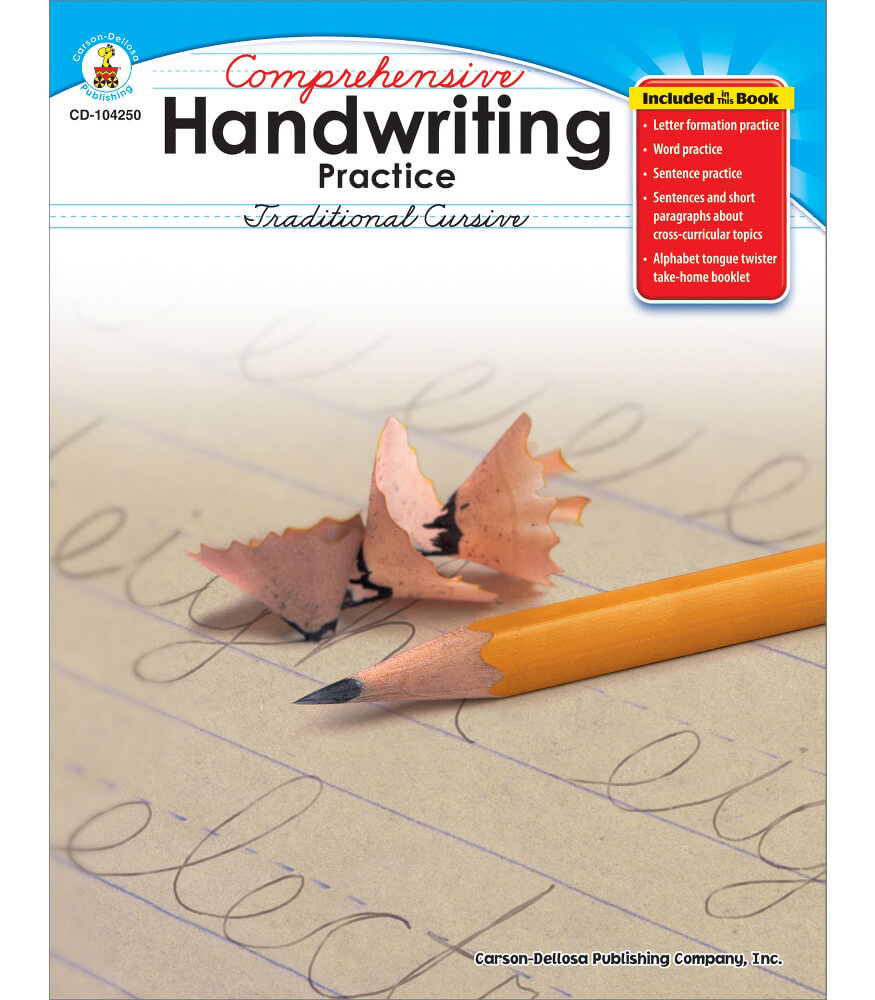 comprehensive handwriting practice traditional cursive resource book grade 2 5 carson dellosa. Black Bedroom Furniture Sets. Home Design Ideas