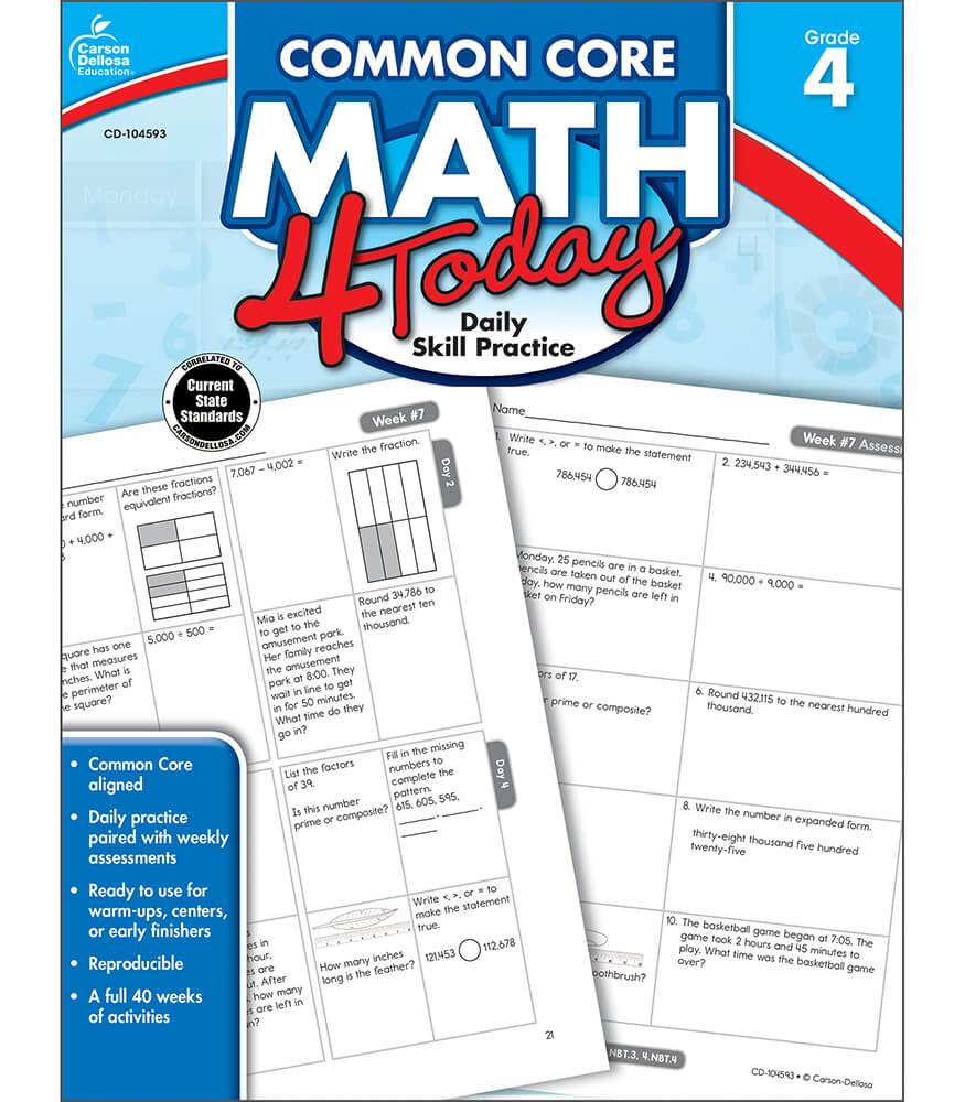 Worksheet 4th Grade Math Workbook common core math 4 today workbook grade carson dellosa publishing workbook