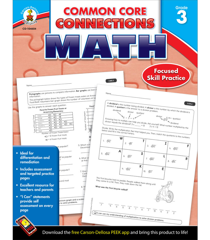 Worksheet 3rd Grade Math Workbook common core connections math workbook grade 3 carson dellosa workbook