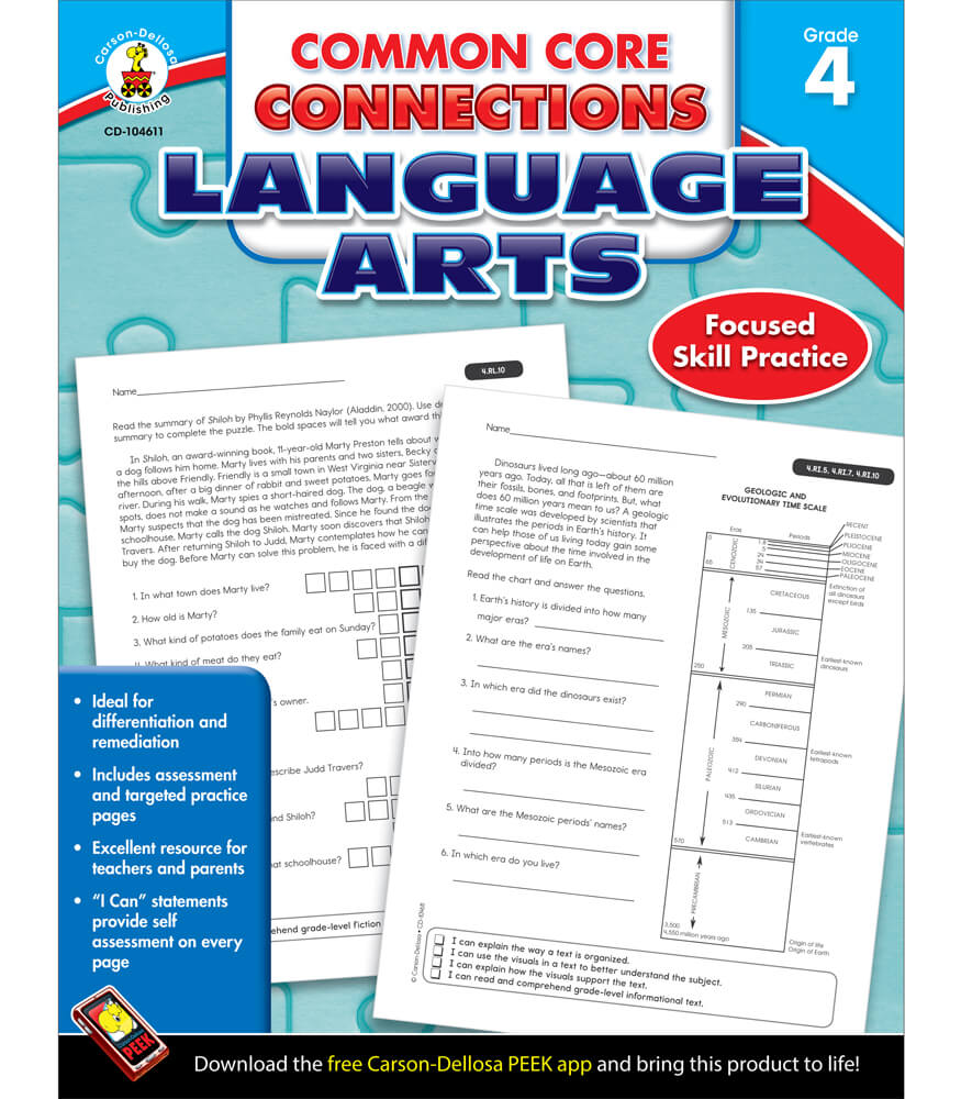 Common Core Connections Language Arts Workbook Grade 4 ...