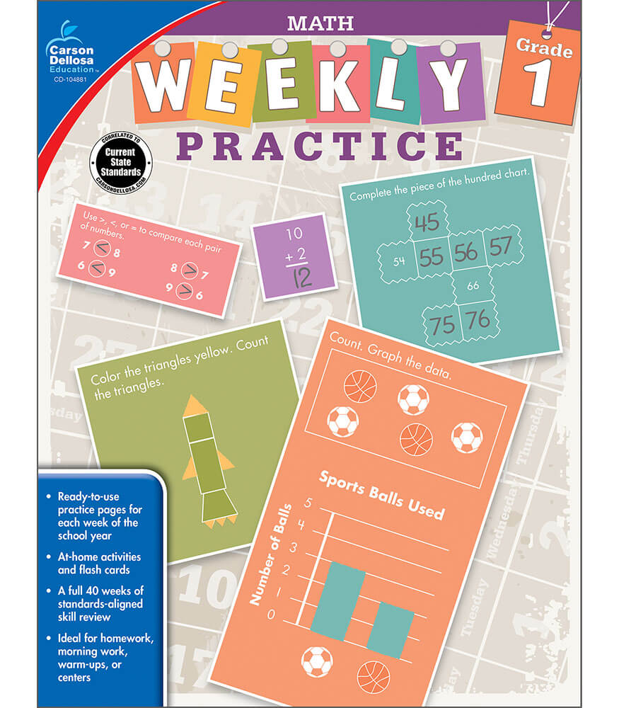 math worksheet : weekly practice math workbook grade 1  carson dellosa publishing : Math Workbook