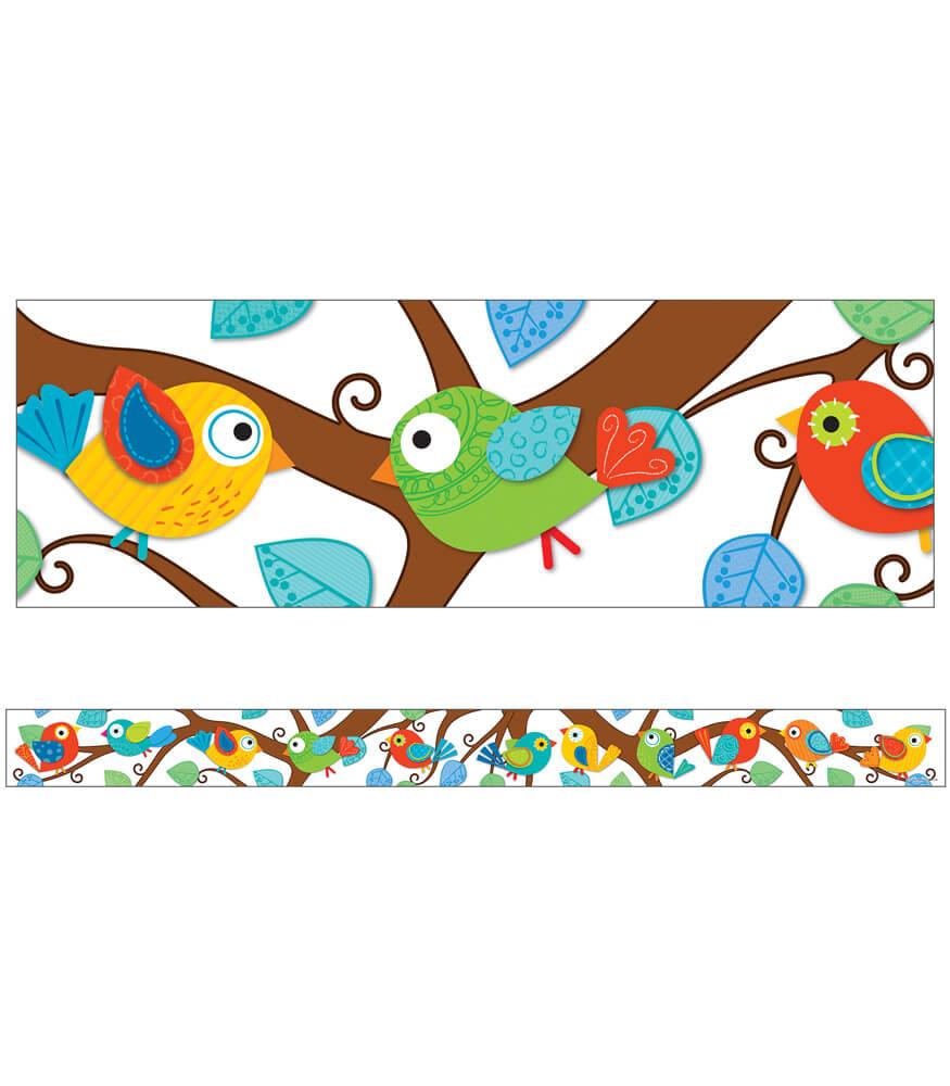 boho birds straight borders grade pk