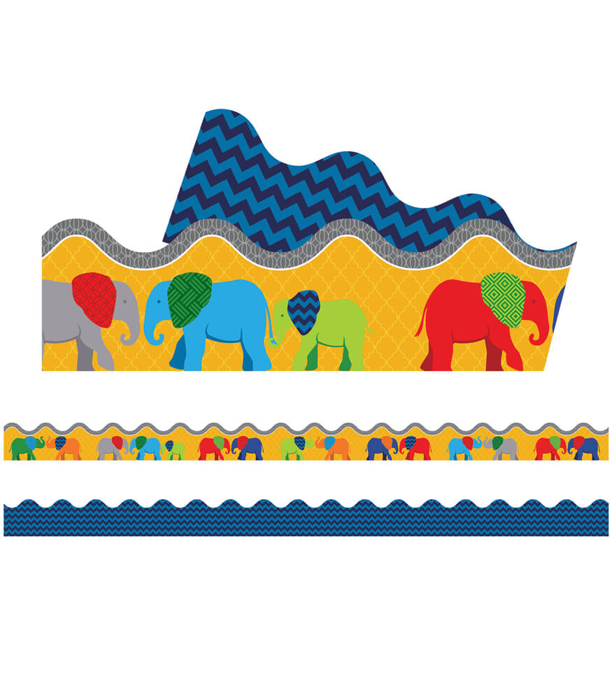Parade of Elephants Scalloped Borders