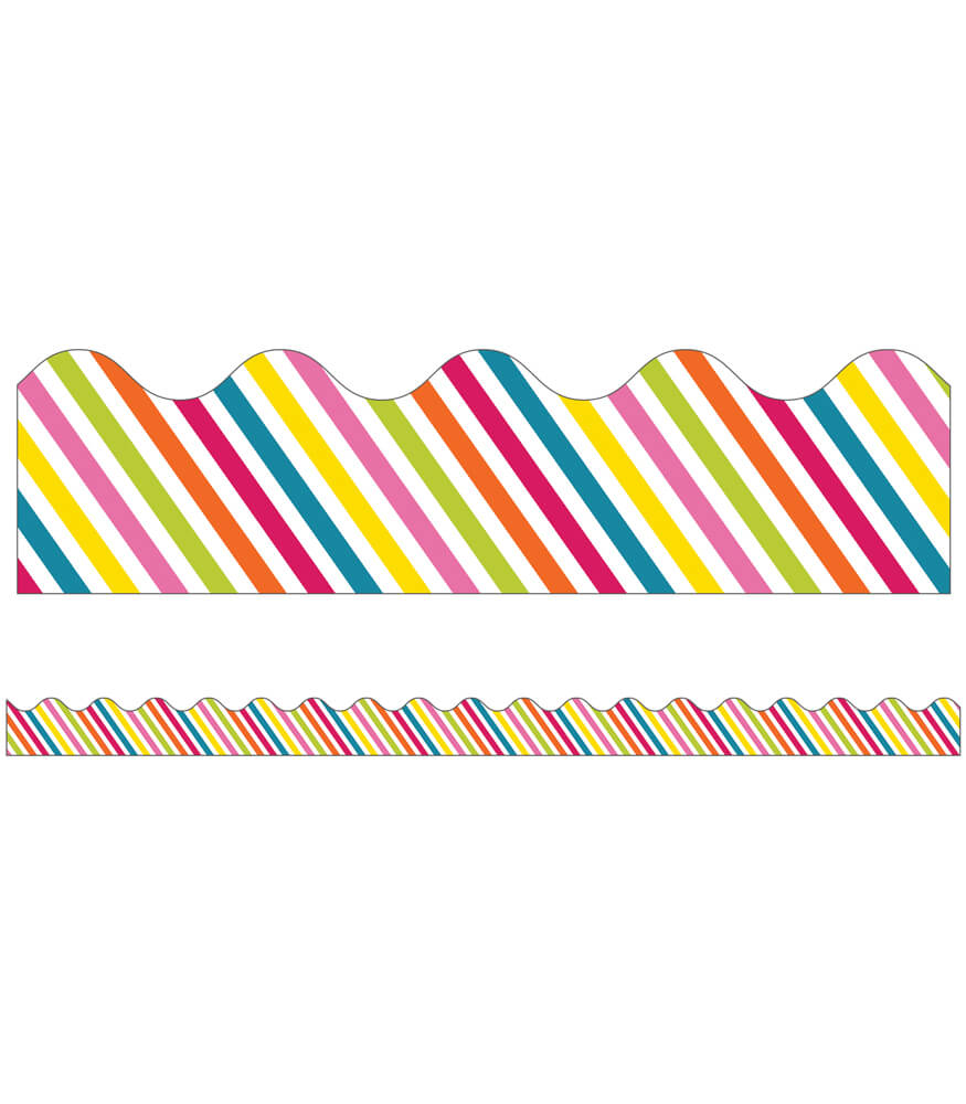 School Pop Rainbow Stripe Scalloped Borders