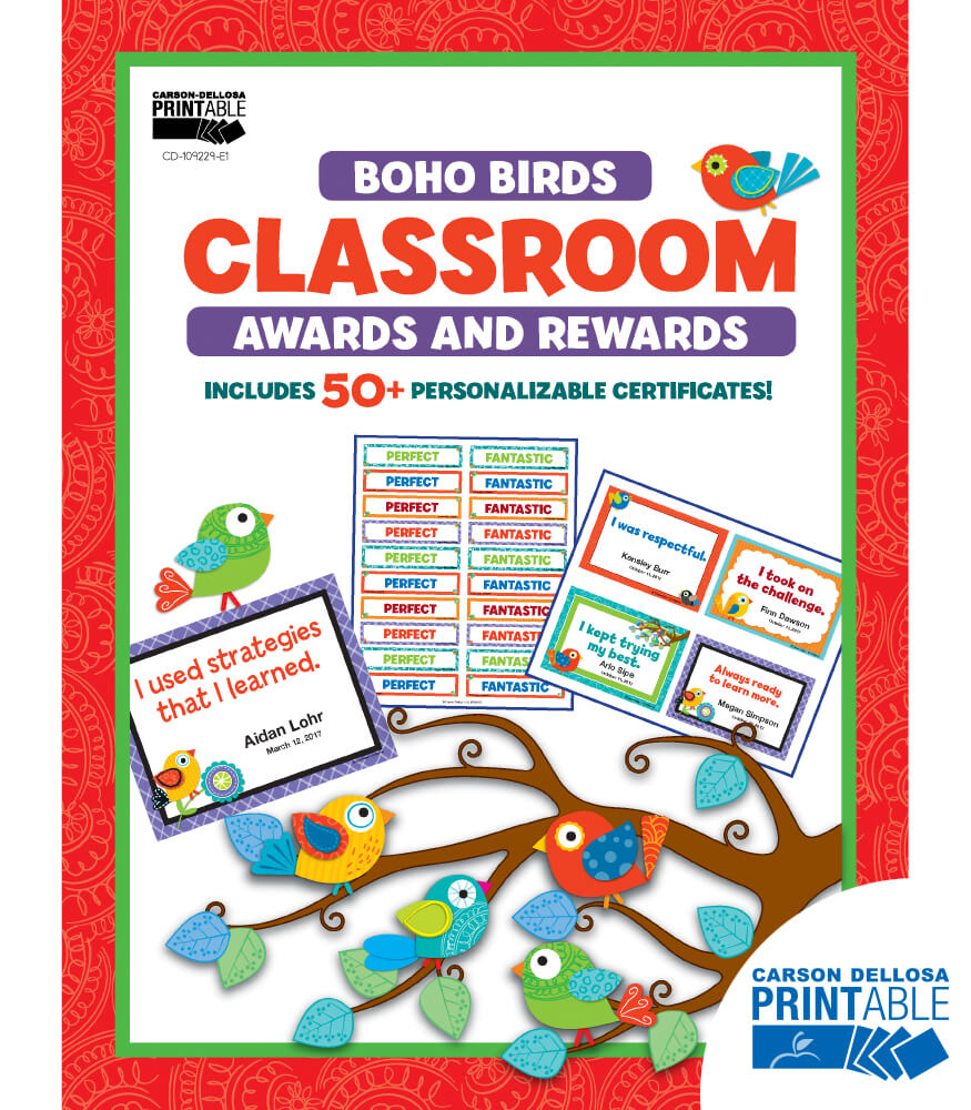 Boho Birds Printable Classroom Awards & Rewards Product Image