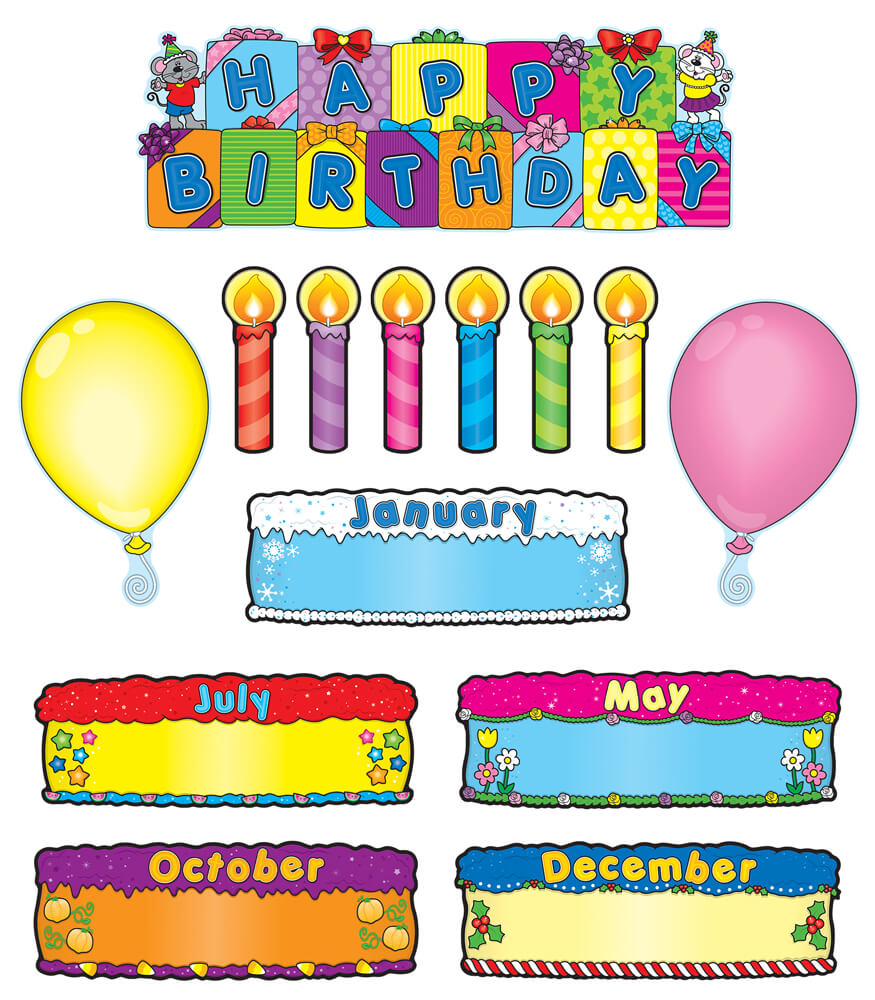 Birthday Cakes Mini Bulletin Board Set Grade PK-5
