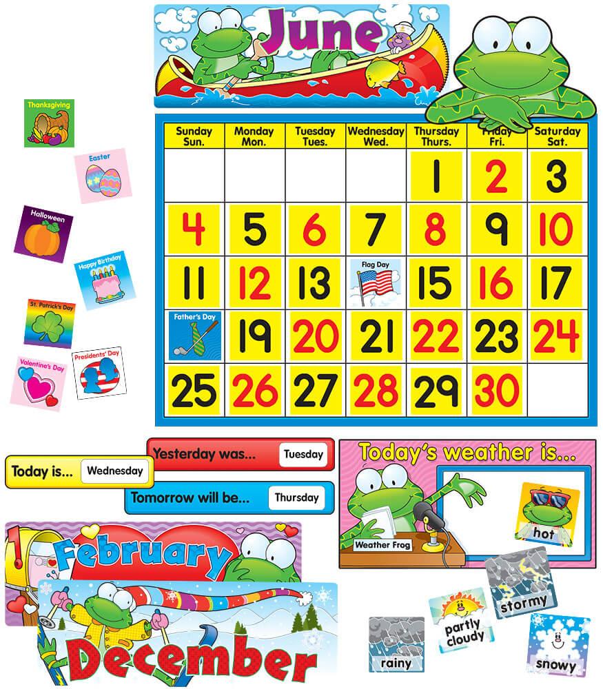 Calendar Bulletin Board Set : Frog calendar set bulletin board grade pk carson
