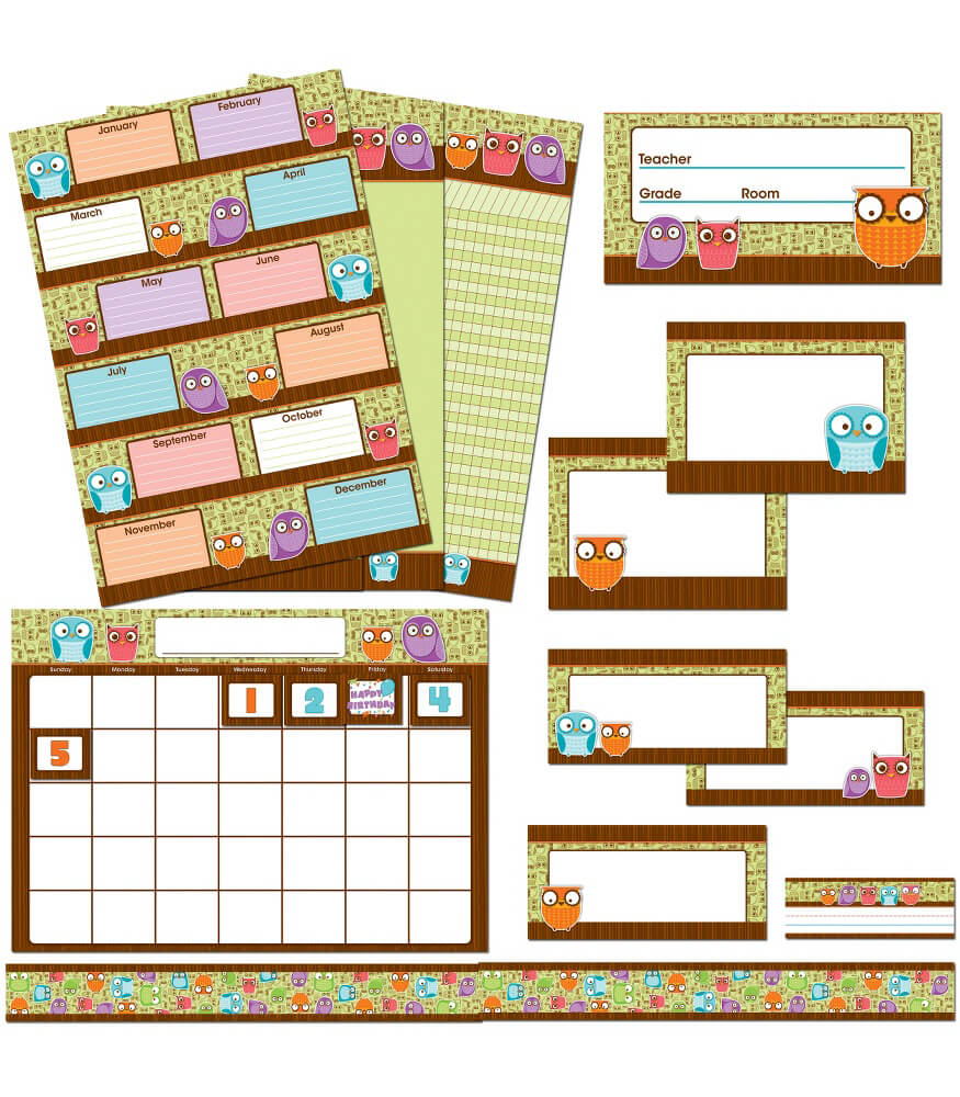 Owls Classroom Collection Bulletin Board Set Product Image