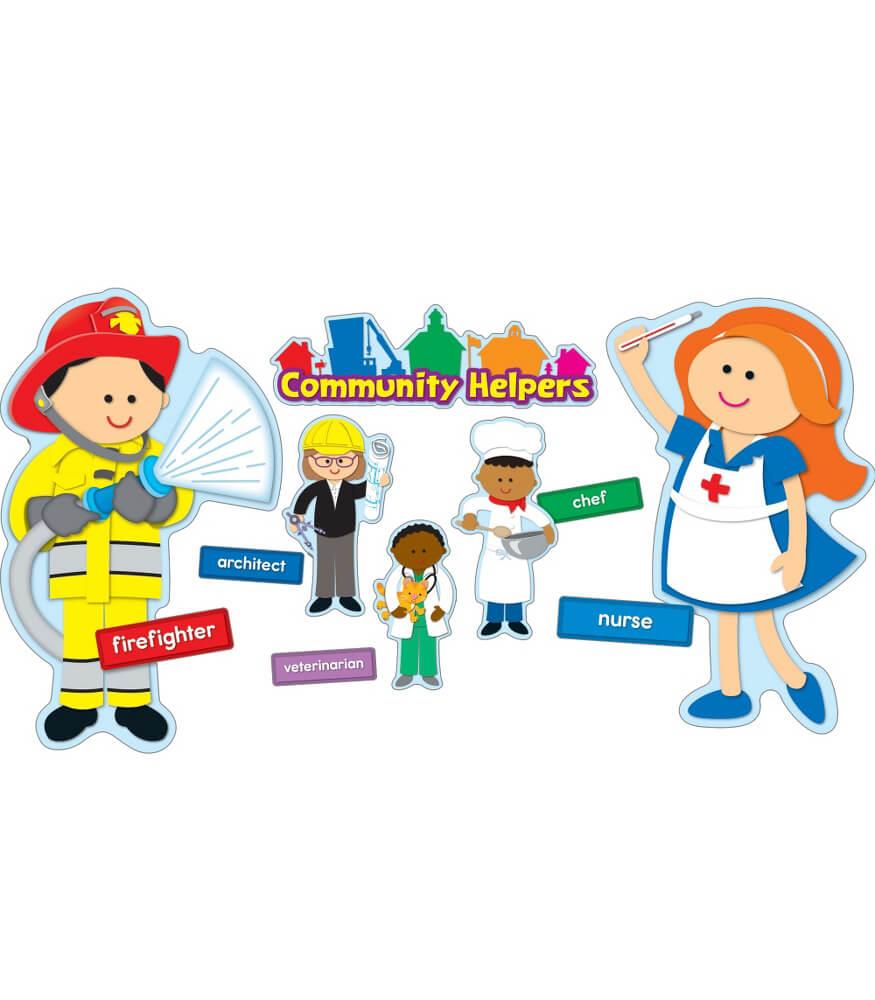 community helpers bulletin board set grade pk 2 carson dellosa