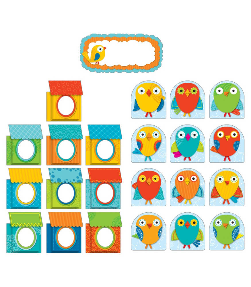 Boho Birds & Birdhouses Bulletin Board Set Product Image