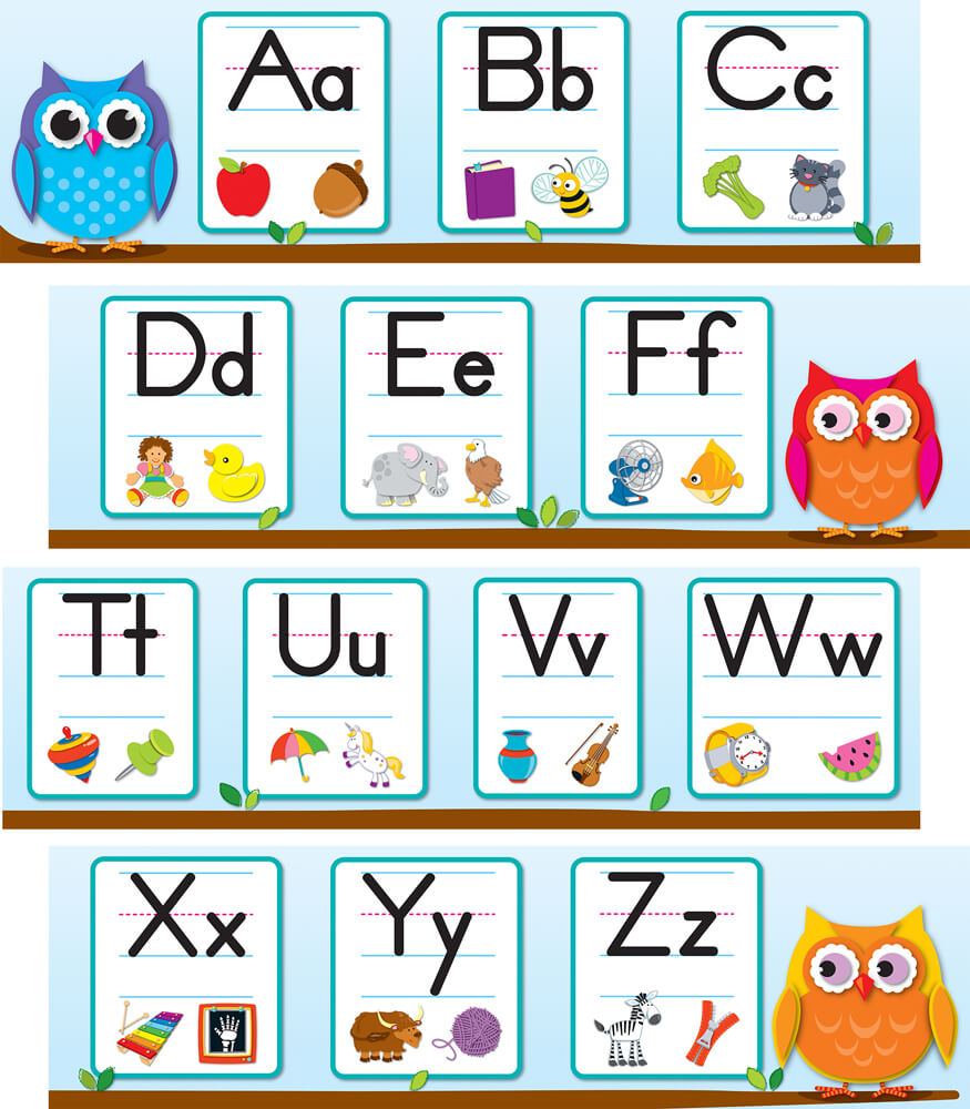 Colorful Owls Alphabet Mini Bulletin Board Set