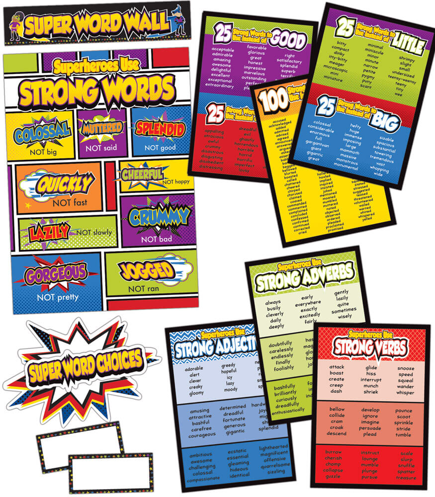 Super Power Super Word Choices Bulletin Board Set Product Image
