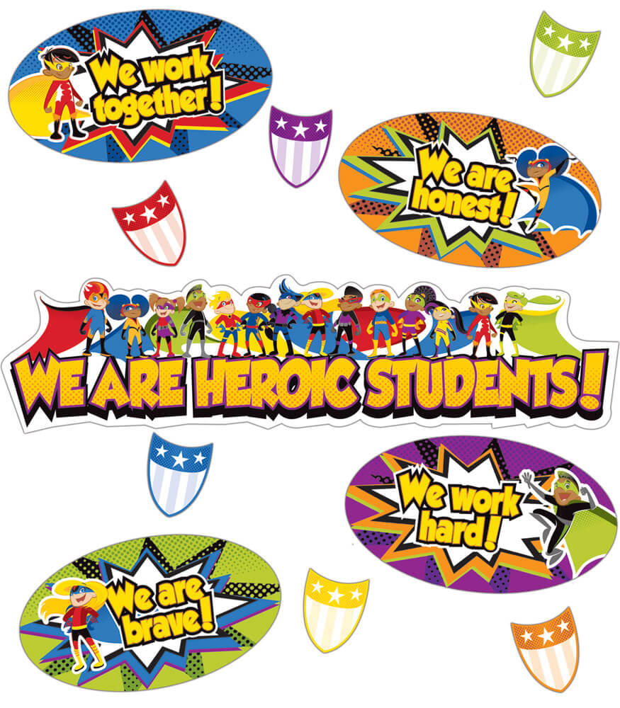 110314 Super Power Heroic Students Mini Bulletin Board Set 110314 on Spring Work Bulletin Board Ideas