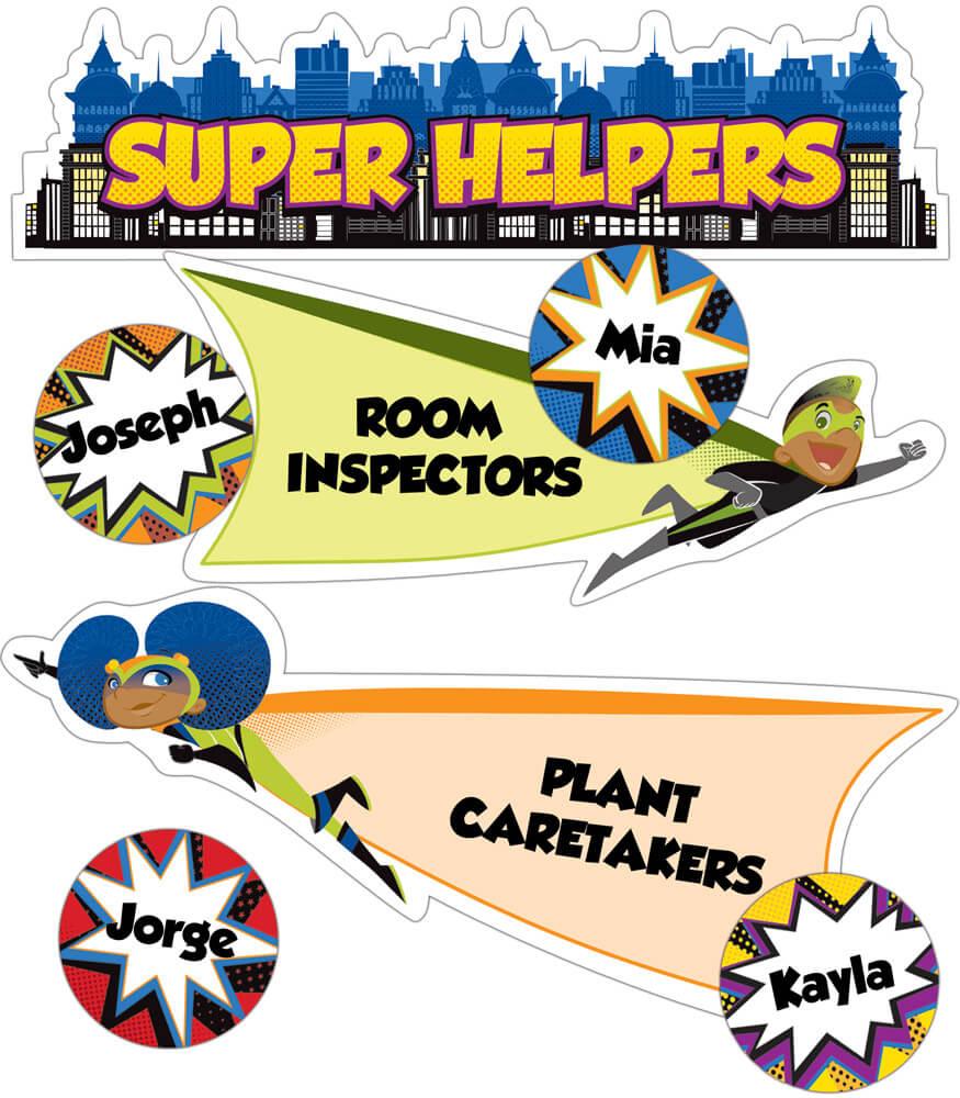 Super Power Super Helpers Mini Bulletin Board Set Product Image