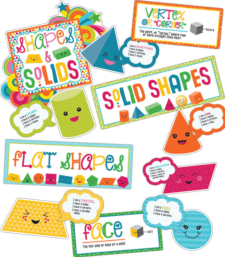School Pop Shapes and Solids Bulletin Board Set