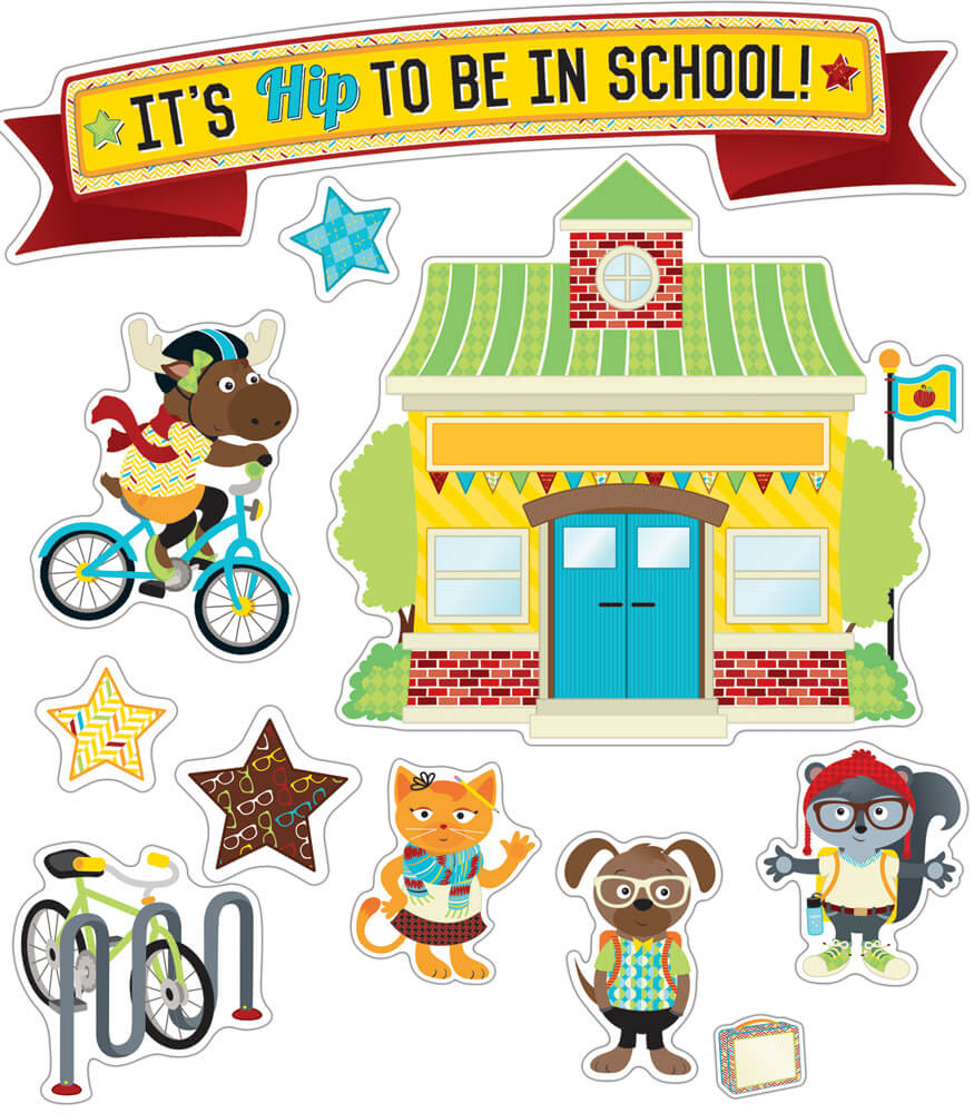 Hipster It's Hip to Be in School Bulletin Board Set Product Image