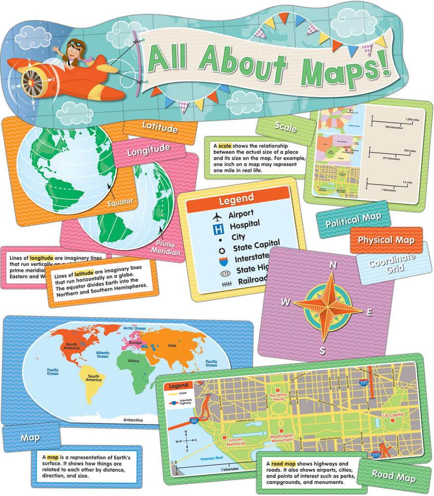 All About Maps Mini Bulletin Board Set Grade K CarsonDellosa - All maps