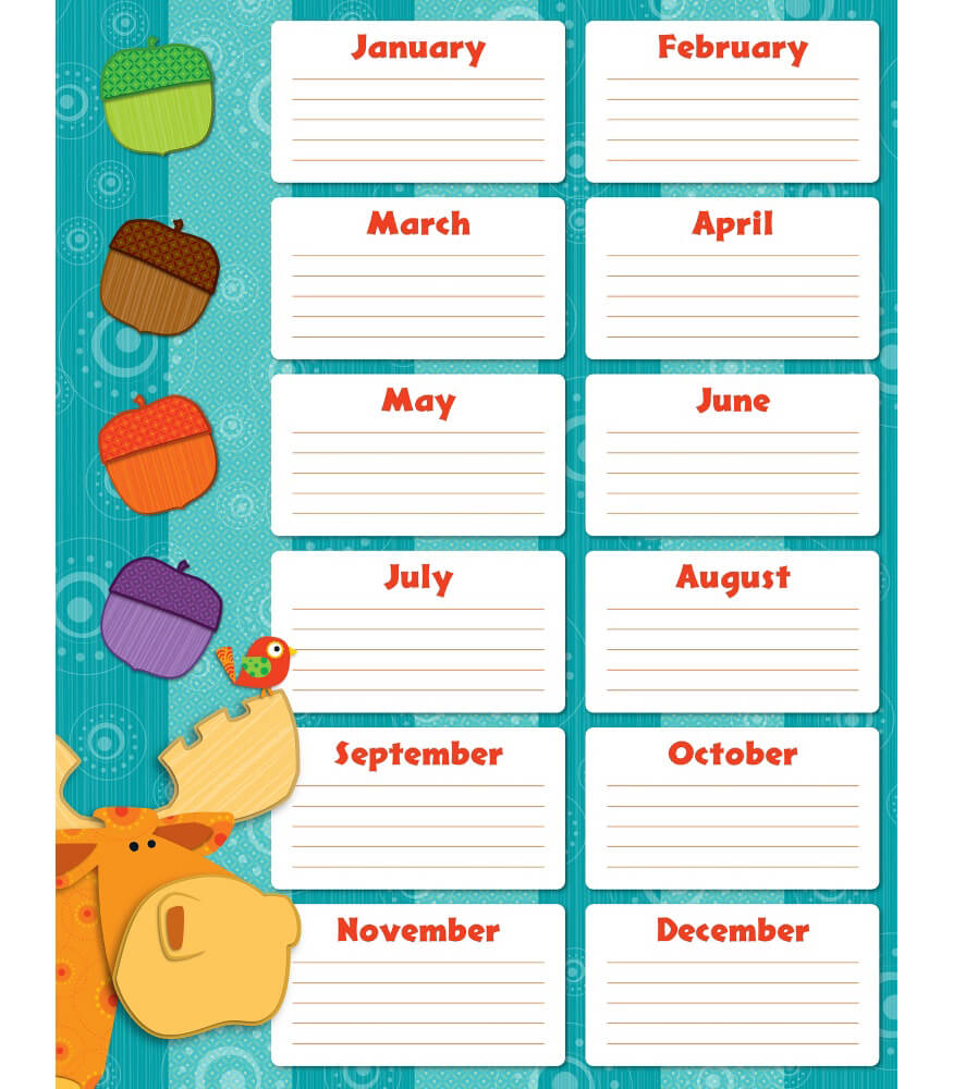 birthday chart template for classroom - moose friends birthday grade pk 8 carson dellosa