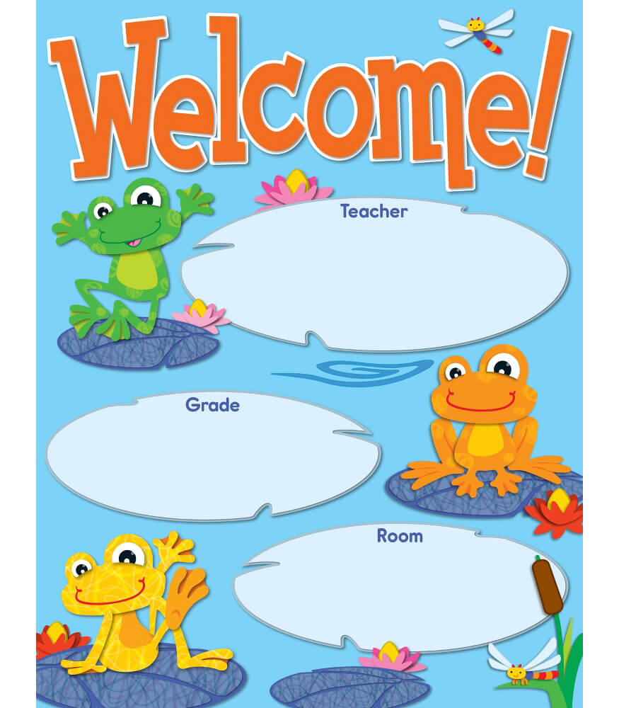 Classroom Welcome Design ~ Funky frogs welcome chart grade pk carson dellosa