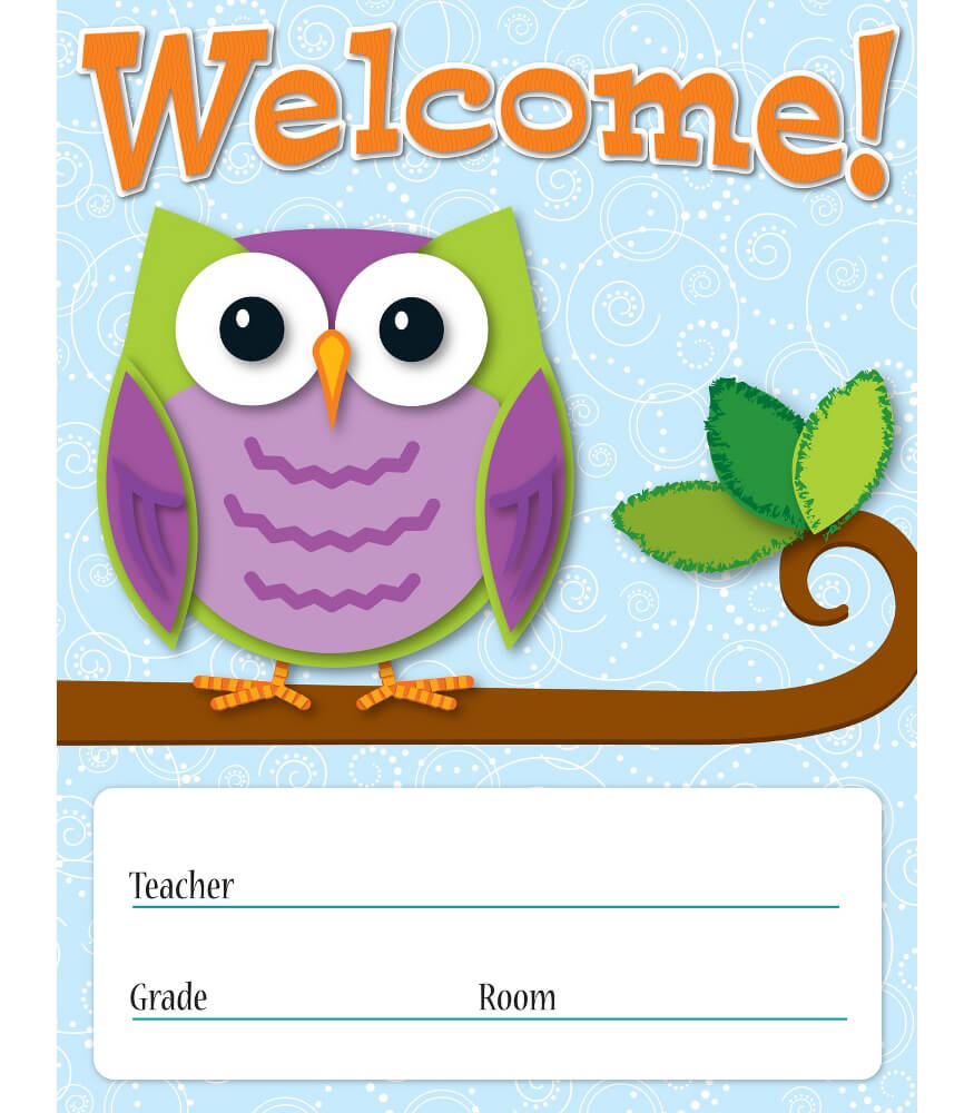 Welcome Charts For Classroom Decoration ~ Colorful owls welcome chart grade pk carson dellosa