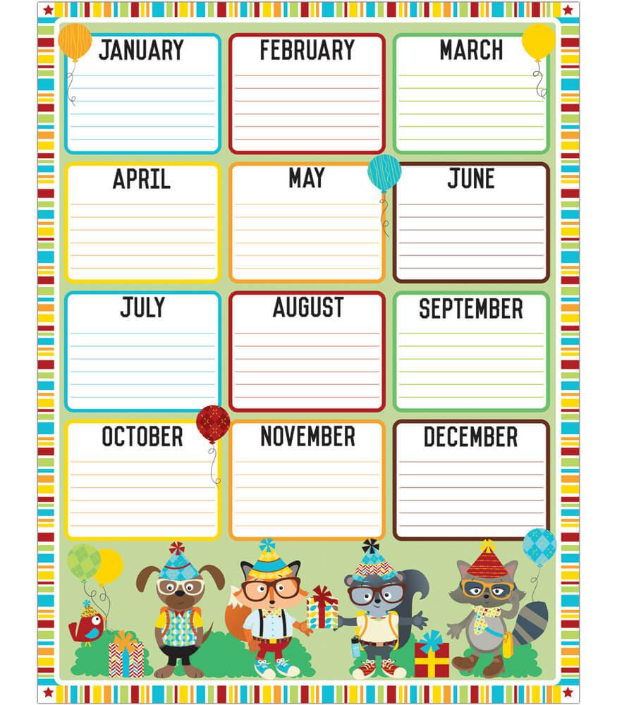 Hipster Birthday Chart Grade PK-5