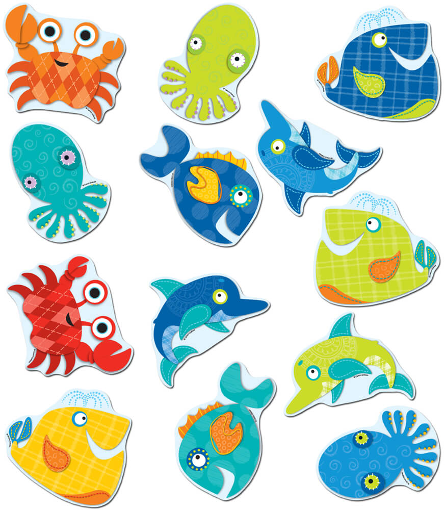 120142 Seaside Splash Cut Outs 120142 on Cute Spring Bulletin Board Ideas