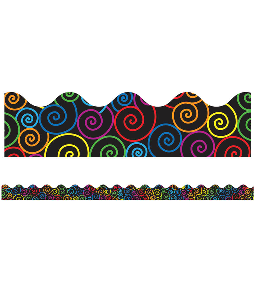Classroom Design Games ~ Rainbow swirls scalloped borders grade pk carson