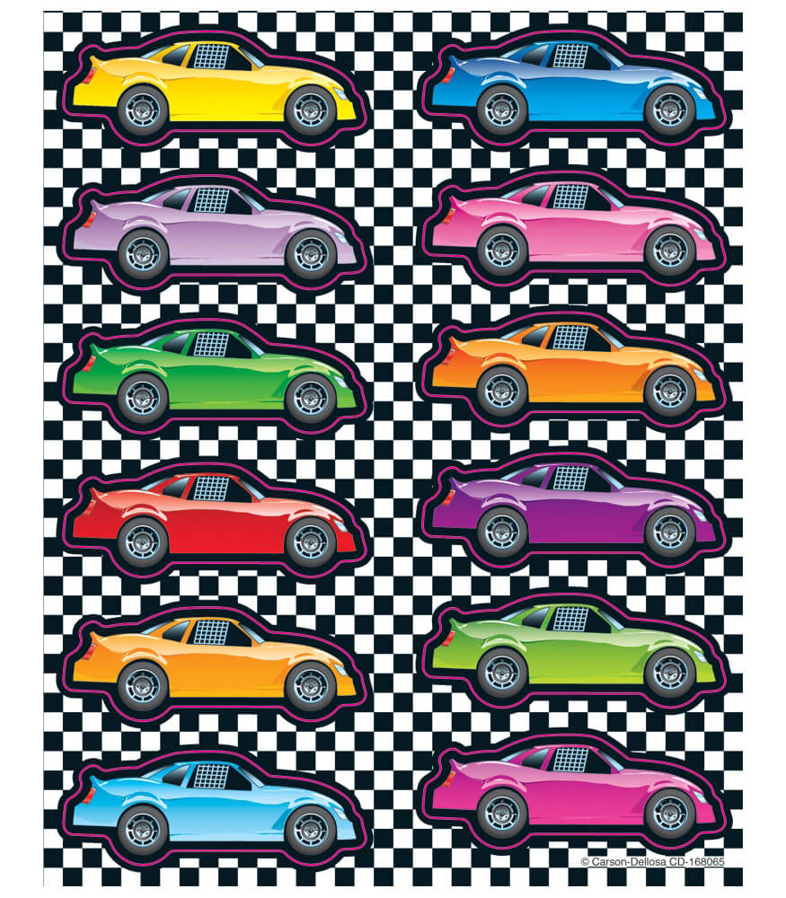 Race Cars Shape Stickers Grade Pk Carson Dellosa Publishing