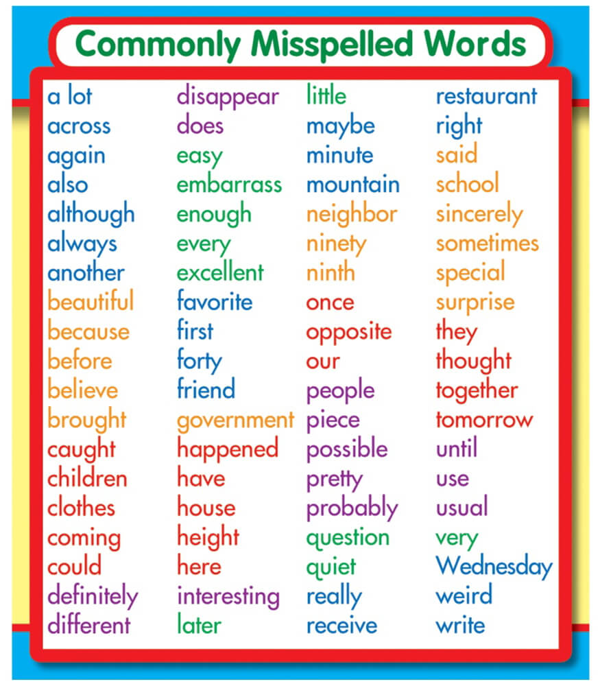 Commonly Misspelled Words Sticker Pack Grade PK-5 | Carson-Dellosa ...