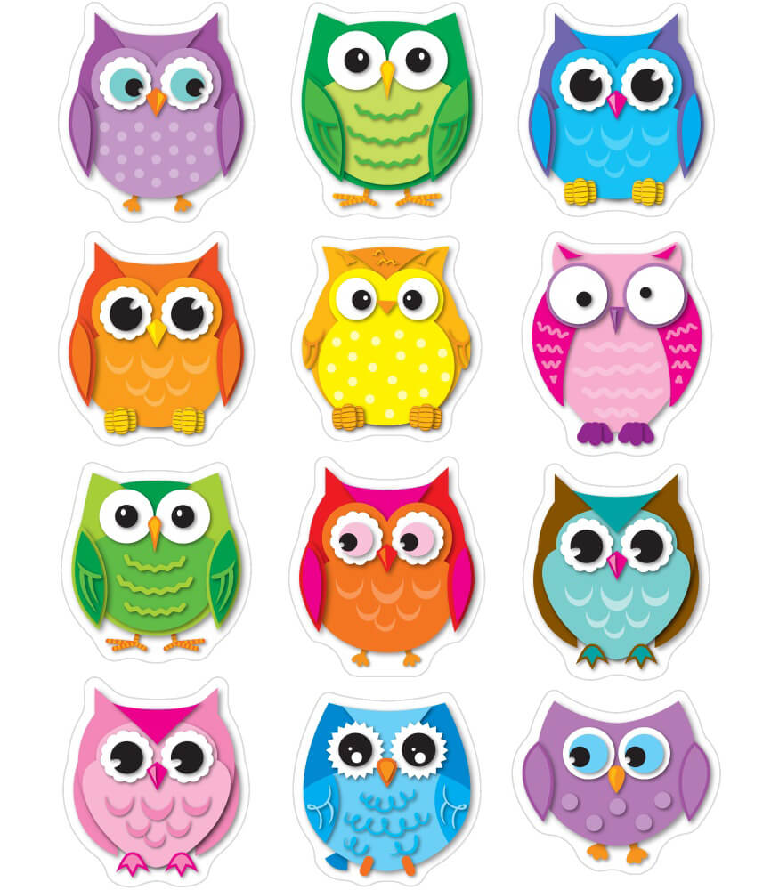 Colorful Owls Shape Stickers Grade PK 5 Carson Dellosa Publishing