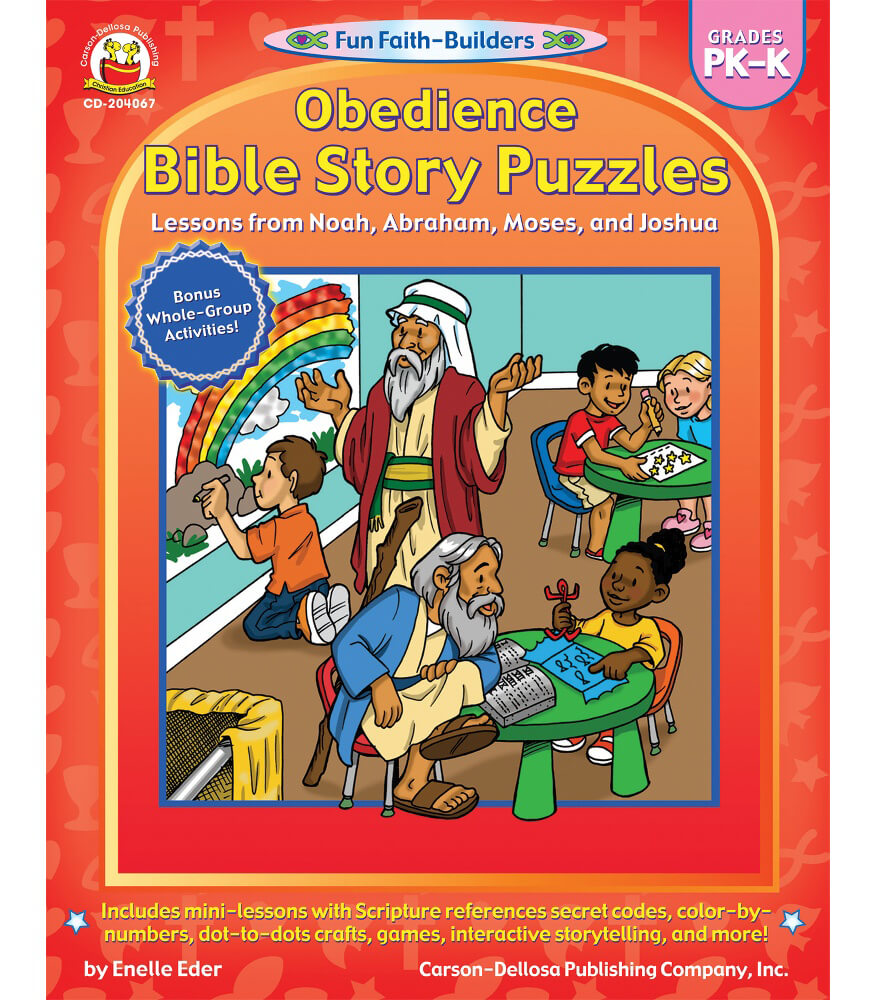 obedience bible story puzzles activity book grade pk k carson