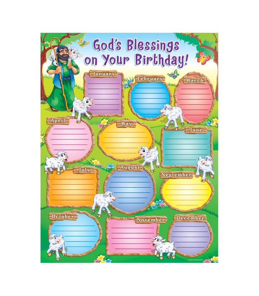 Kids Birthday Calendar : God s blessings on your birthday chart grade pk