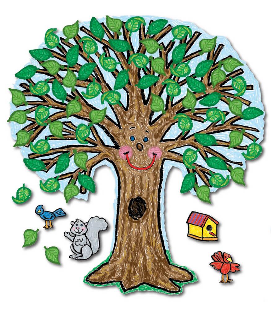 big tree kid drawn bulletin board set grade k 3 carson dellosa