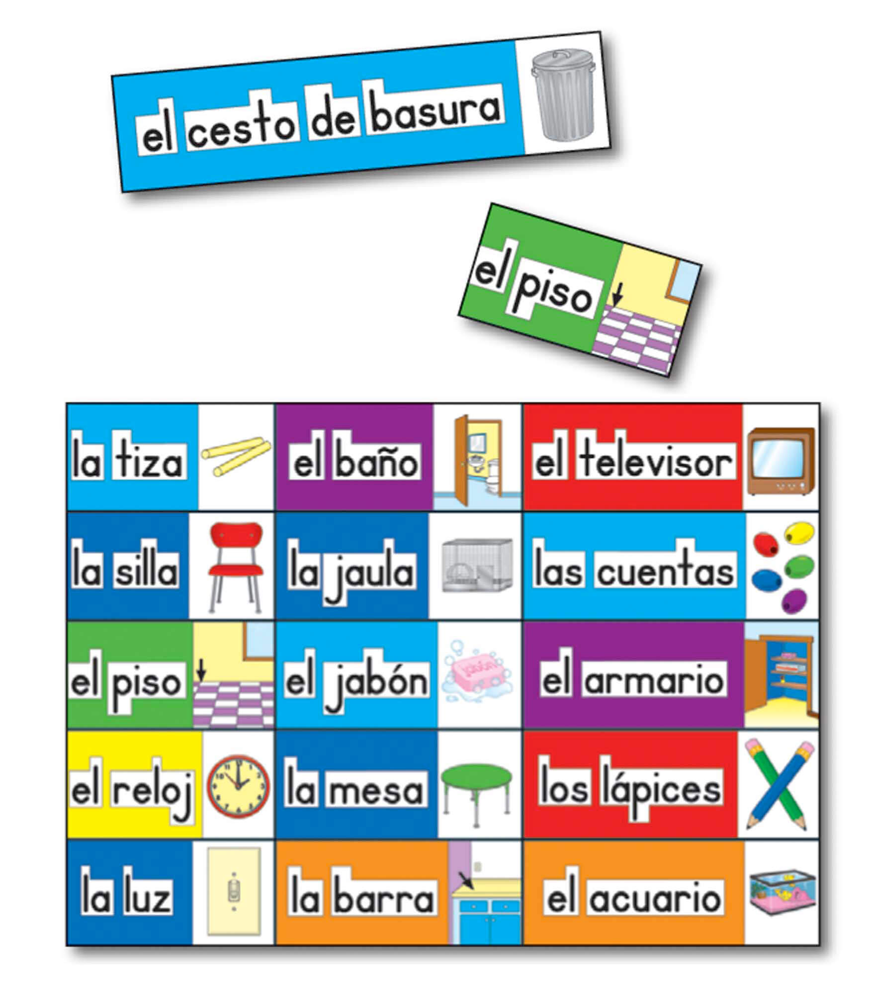Print rich classroom labels spanish bulletin board set for Room labels