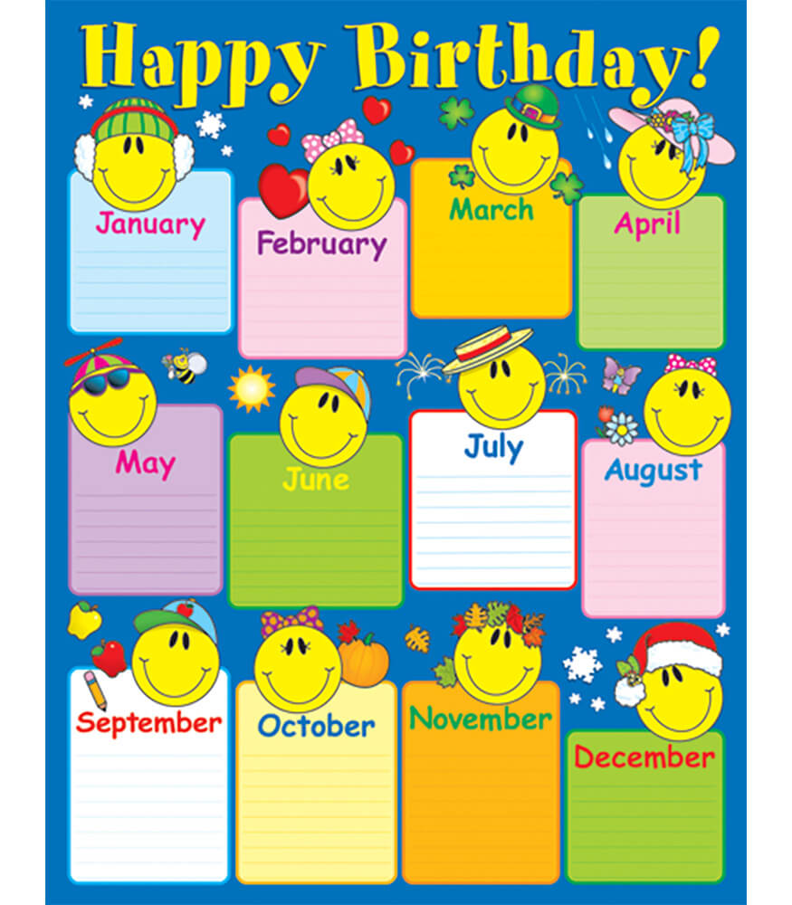 Classroom Officers Design ~ Smiley face birthday chart grade k carson dellosa