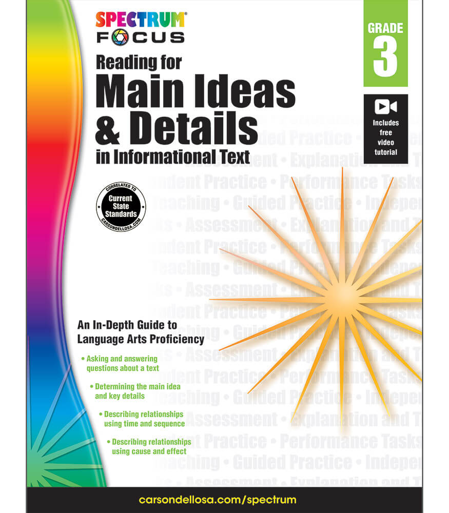 Worksheet Reading Text For Grade 3 spectrum focus reading for main ideas and details in informational text workbook