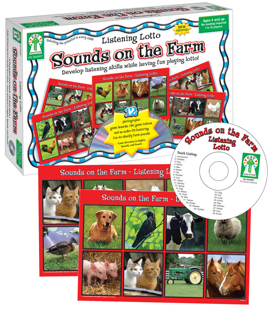 Listening Lotto: Sounds on the Farm Board Game