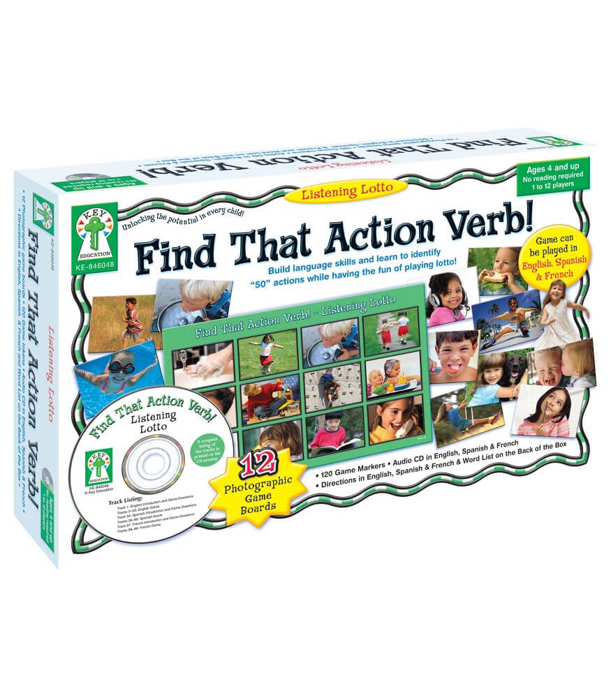 Listening Lotto: Find That Action Verb! Board Game
