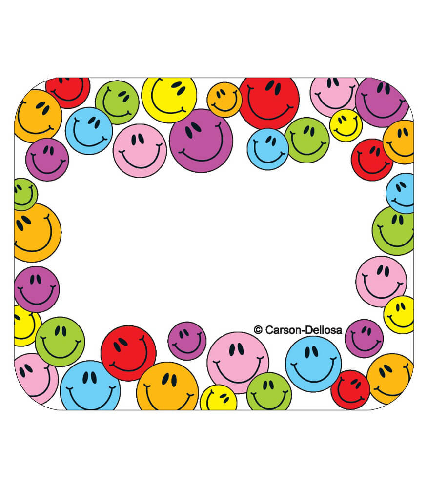 Multicolored Smiley Faces Name Tags Grade PK 8 Carson
