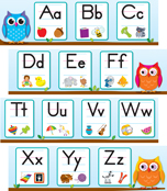 Colorful Owls Alphabet Mini Bulletin Board Set Product Image
