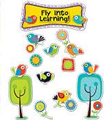 Boho Birds Fly into Learning Bulletin Board Set Product Image