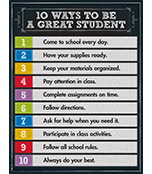 10 Ways to be a Great Student Chart Product Image