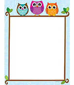 Colorful Owls on a Branch Computer Paper Product Image