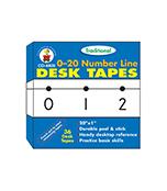 0-20 Number Line - Traditional Desk Tape