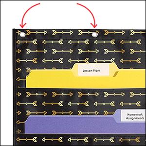 Storage: Gold Arrows Pocket Chart sturdy grommets